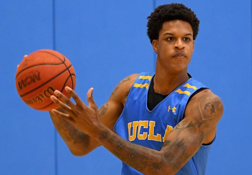 UCLA forward Shareef O'Neal handles the ball during practice at the Mo Ostin Basketball Center.