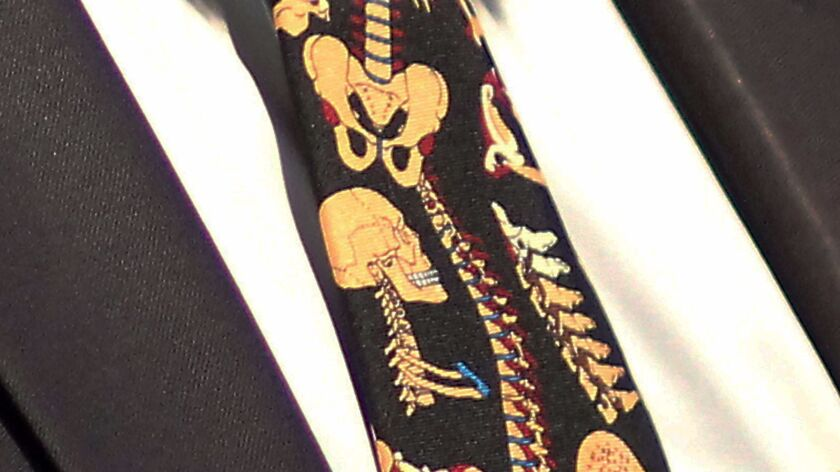 A little sartorial medical humor in the attire of spinal surgeon Dr. Joseph Ciacci -- a skeleton tie