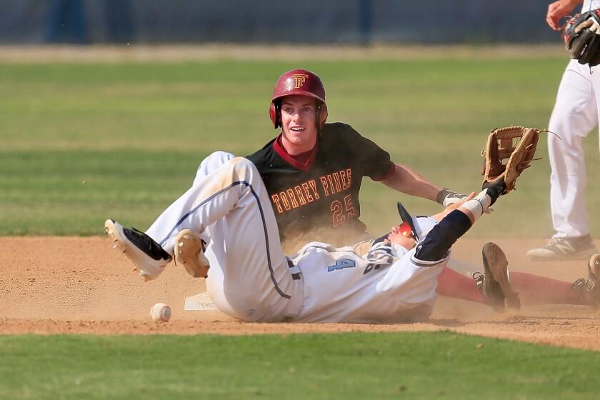 Torrey Pines catcher Bennett McCaskill slides safe on second base.