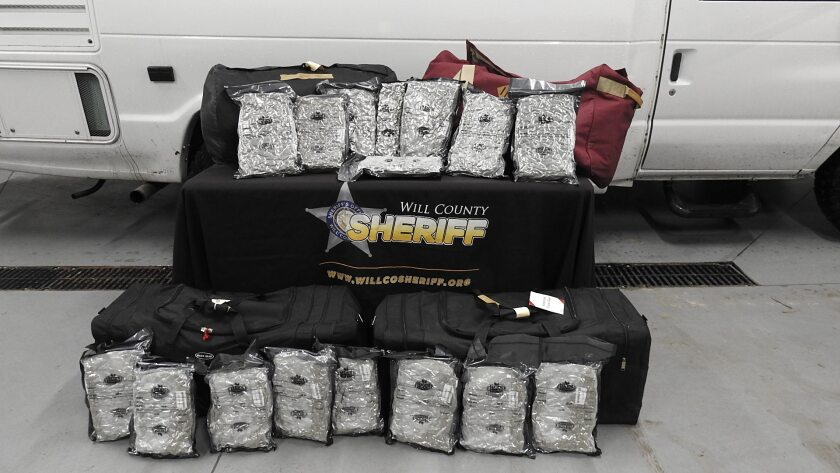 Deputies confiscated 190 pounds of marijuana during a traffic stop that led to the arrest of Michael Silliman, 64, of Huntington Beach, according to the Will County (Ill.) Sheriff's Office.