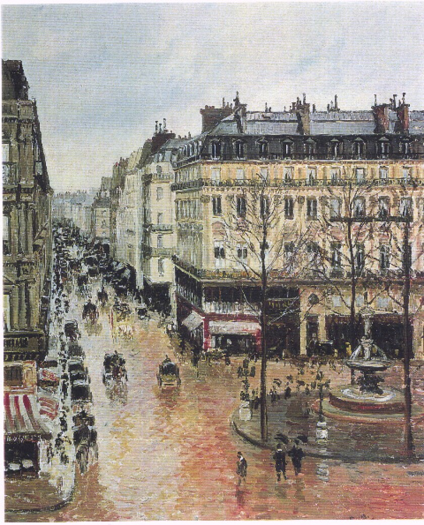 """""""Rue Saint-Honore in the Afternoon. Effect of Rain"""" depicts a Parisian street scene."""