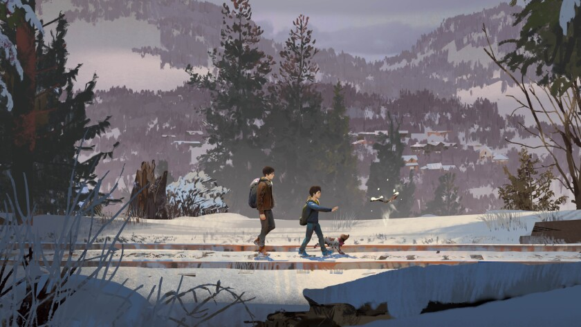 A Mexican American teen, his younger brother and a dog walk through a snowy forest landscape.