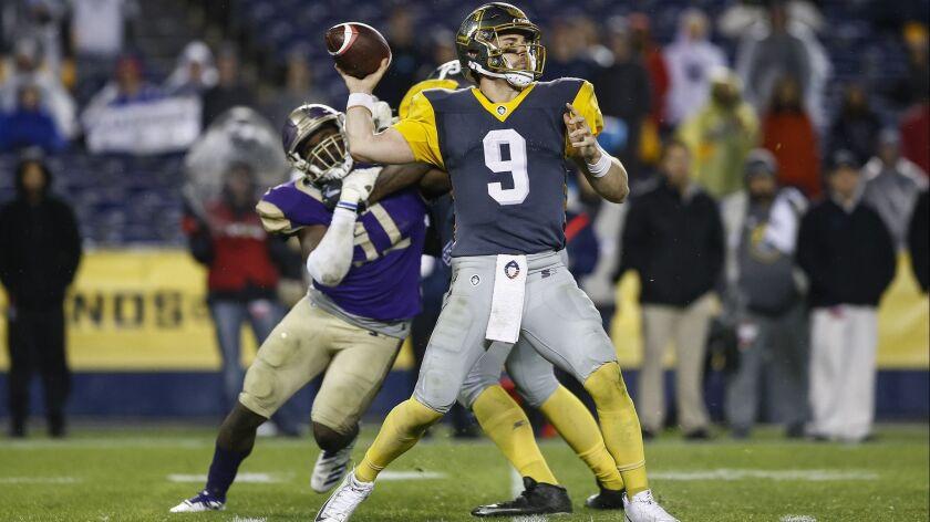 San Diego Fleet quarterback Phillip Nelson (9) passes during the fourth quarter against the Atlanta Legends.