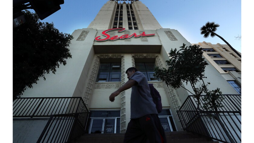 BOYLE HEIGHTS, CA-OCTOBER 15, 2018: Overall, shows the Sears building on Olympic Blvd. in Boyle Hei