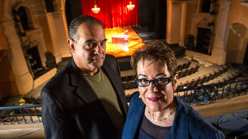 "Molly Smith, director of ""The Orginalist,"" and Edward Gero, who stars as Supreme Court Justice Antonin Scalia, at Pasadena Playhouse."