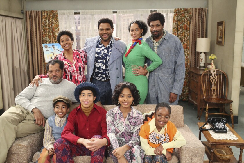 "Laurence Fishburne, Miles Brown, Jenifer Lewis, Marcus Scribner, Anthony Anderson, Yara Shahidi, Tracee Ellis Ross, Deon Cole and Marsai Martin make up the cast of ABC's ""black-ish."""