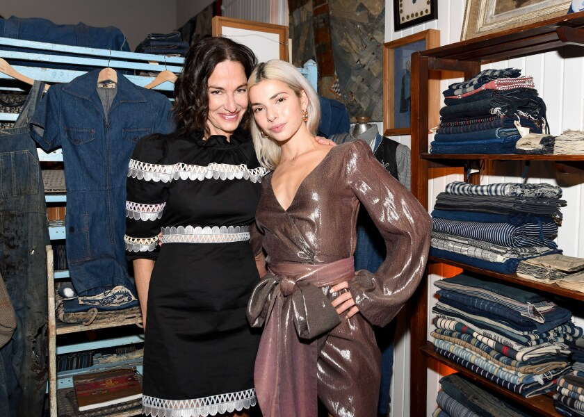 Cynthia Rowley, left, with Kit Keenan during Rowley's L.A. fashion show and event at Melet Mercantile.