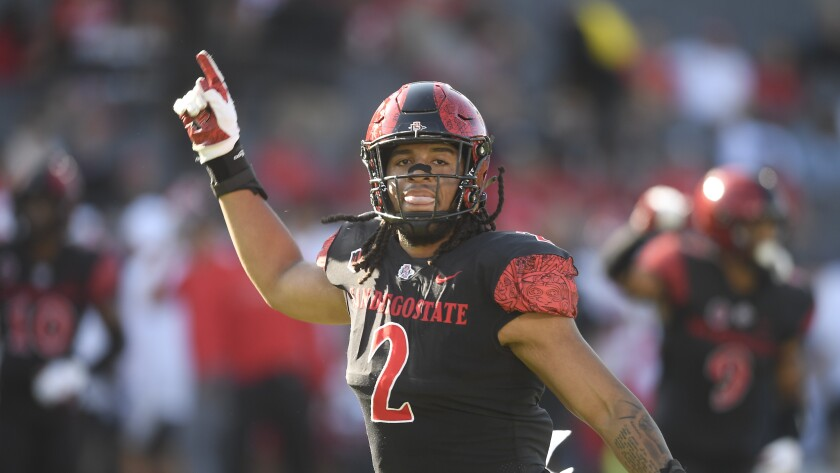 San Diego State defensive lineman Keshawn Banks celebrates a play during last week's win over Utah.