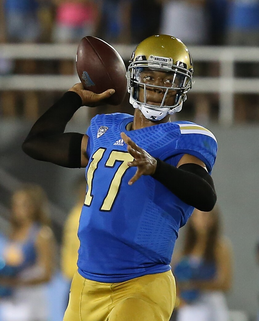 UCLA quarterback Brett Hundley has been at the center of the Bruins' efforts this season to put up the best offensive numbers in school history.