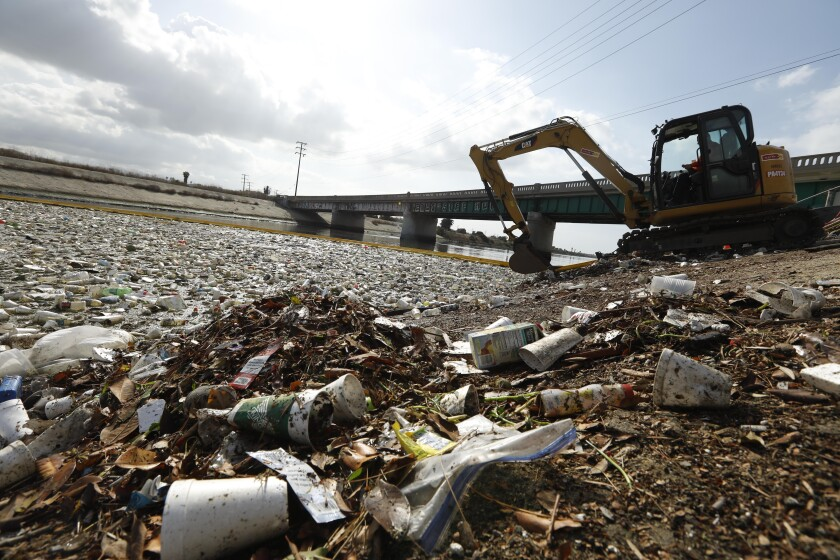 Trash near mouth of the Los Angeles River