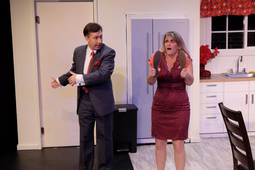 """Charles Peters (left) and Susan Clausen in Scripps Ranch Theatre's """"Absurd Person Singular."""""""