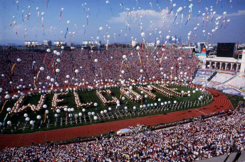 The opening ceremony of the 1984 Olympics at the Los Angeles Memorial Coliseum.