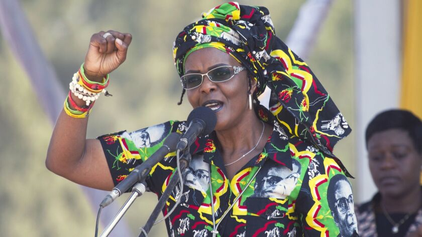 FILE - in this Friday Sept. 1, 2017 file photo, former Zimbabwean first lady, Grace Mugabe addresses