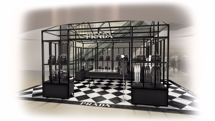 A rendering of the Prada men's pop-up store in Galeries Lafayette.