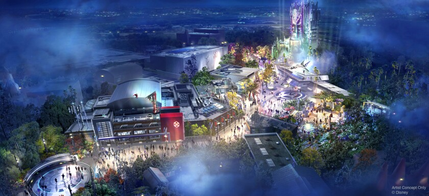 Concept art for the Avengers Campus coming to Disneyland.