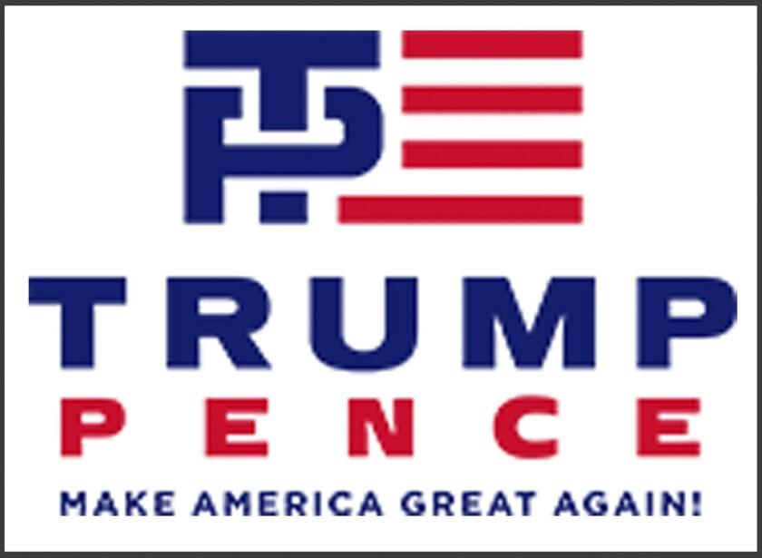 """Esta imagen divulgada el viernes 15 de julio del 2016 por la campaña de Donald Trump a la presidencia muestra el nuevo logotipo de la campaña con los apellidos de Trump, virtual nominado a la presidencia por el Partido Republicano, y su compañero de fórmula, el gobernador de Indiana Mike Pence. Incluye una """"T"""" y """"P"""" de color azul al lado de franjas rojas que evocan la bandera estadounidense. La rayita vertical de la """"T'' cruza el círculo de la """"P'' y algunas personas la ven como una insinuación sexual. (Donald J. Trump for President via AP)"""