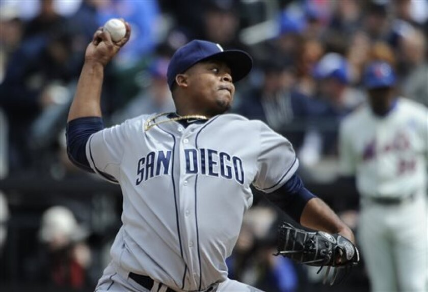 San Diego Padres starting pitcher Edinson Volquez (37) throws against the New York Mets in the second inning of an opening day baseball game at Citi Field on Monday, April 1, 2013 in New York. (AP Photo/Kathy Kmonicek)