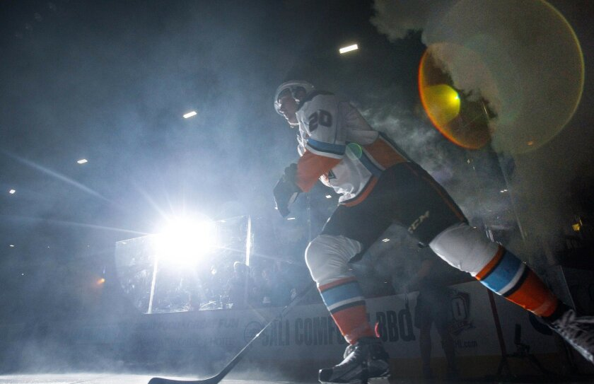 The Gulls' Nick Ritchie comes out on to the ice as he is introduced to the crowd before the San Diego Gulls' home opener against Grand Rapids in San Diego on Saturday.
