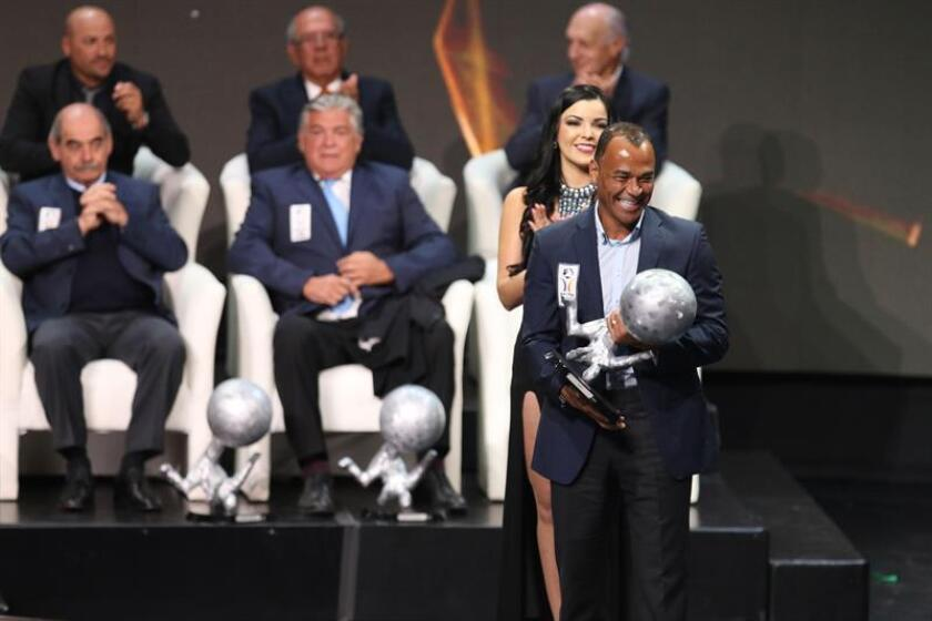 Former Brazilian soccer star Cafu was among a group of former players and coaches inducted on Nov. 13, 2018, in Pacuca, Mexico, into Mexico's soccer Hall of Fame. EPA-EFE/David Martinez Pelcastre