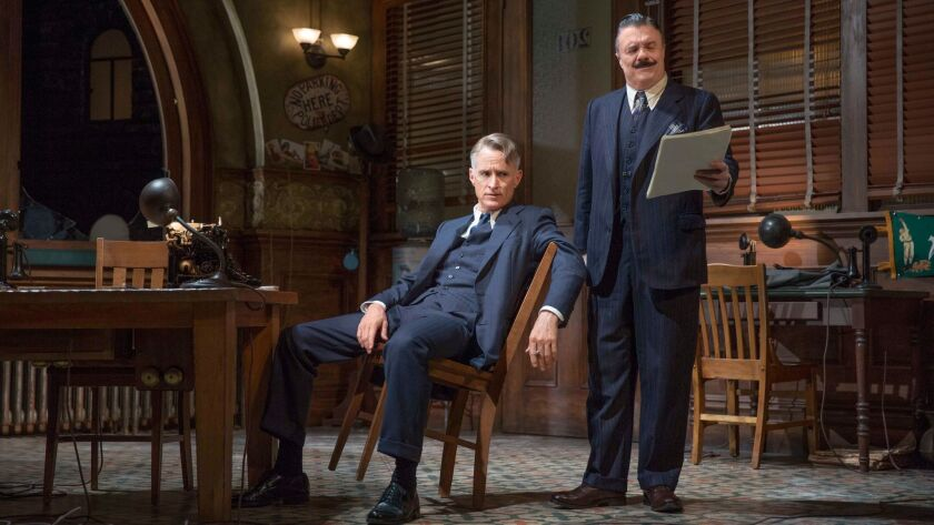 """John Slattery, left, and Nathan Lane in """"The Front Page."""""""