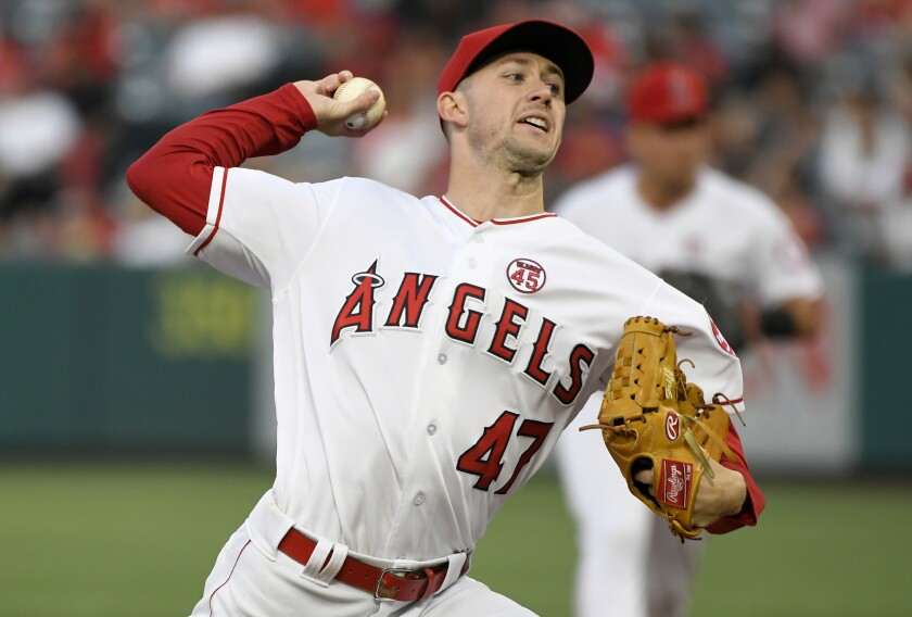 ANAHEIM, CA - JULY 30: Griffin Canning #47 of the Los Angeles Angels of Anaheim pitches in the second inning against the Detroit Tigers at Angel Stadium of Anaheim on July 30, 2019 in Anaheim, California. (Photo by John McCoy/Getty Images) ** OUTS - ELSENT, FPG, CM - OUTS * NM, PH, VA if sourced by CT, LA or MoD **