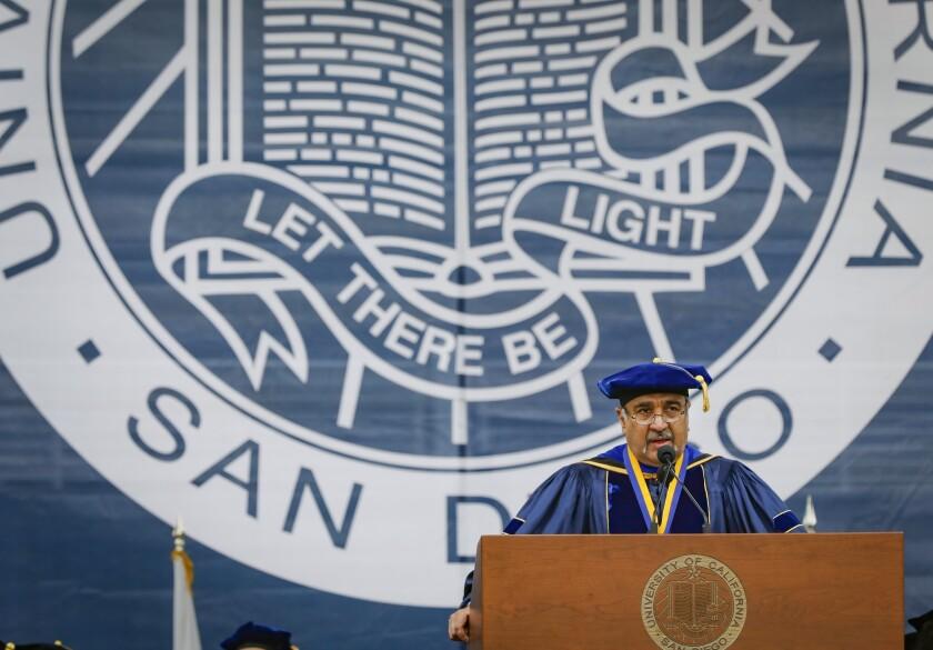 UC San Diego Chancellor Pradeep Khosla addresses graduates in 2019.