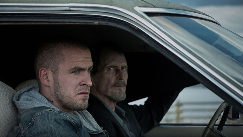 "An angry outside played by Jack Kesy, left, comes home after his mother's suicide. Stephen McHattie portrays the town's dark conscience in ""Juggernaut."""