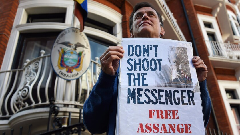 Assange supporter protests in London