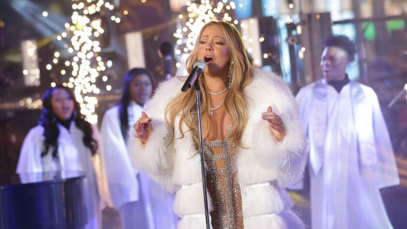Mariah Carey during her New Year's Eve performance in New York's Times Square.