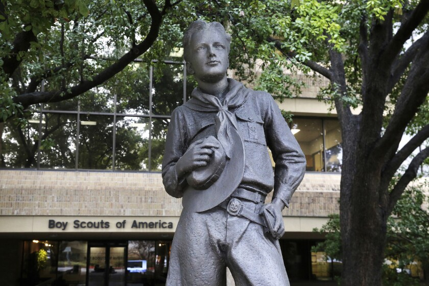 A statue of a Scout outside the headquarters of the Boys Scouts of America in Irving, Texas.