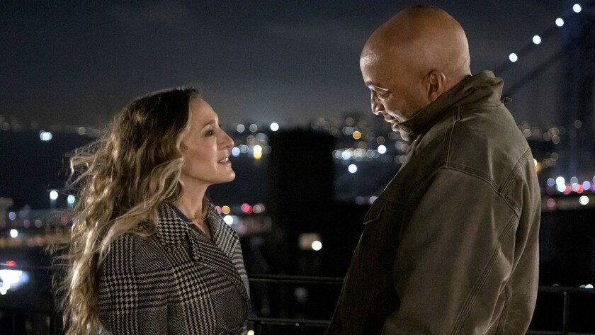 "Sarah Jessica Parker, left, and James Lesure in ""Divorce"" on HBO."