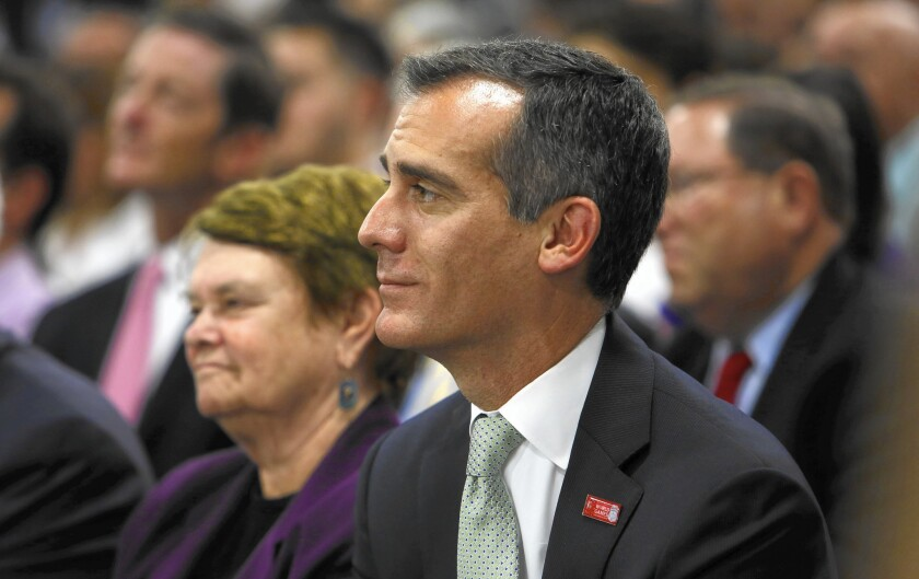 L.A. Mayor Eric Garcetti recused himself from dozens of Metro board votes last year as he sought to comply with one of the state's most restrictive rules on campaign contributions.