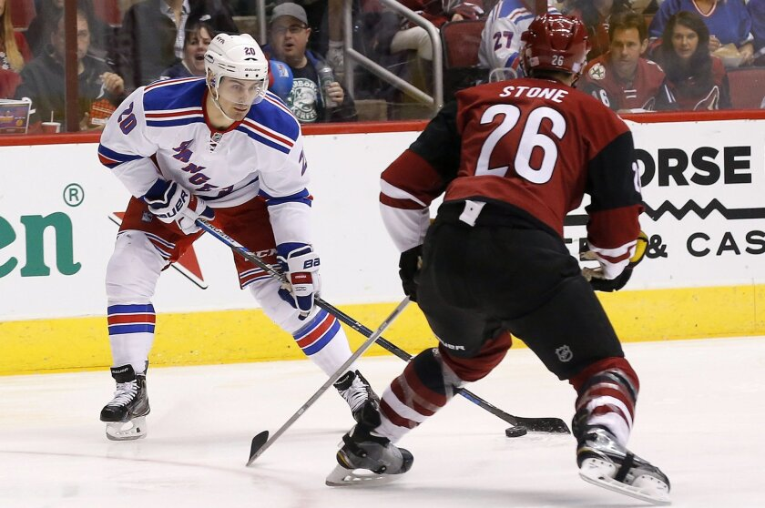 New York Rangers' Chris Kreider (20) controls the puck in front of Arizona Coyotes' Michael Stone (26) just before his slap shot score during the second period of an NHL hockey game, Saturday, Nov. 7, 2015, in Glendale, Ariz. (AP Photo/Ross D. Franklin)