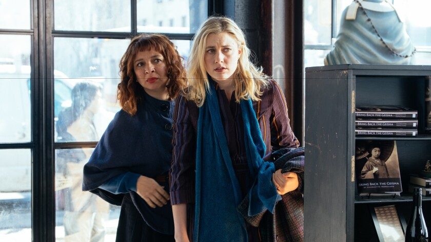 "Maya Rudolph, left, and Greta Gerwig star in ""Maggie's Plan."""