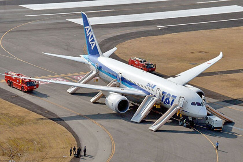 A Boeing 787 Dreamliner operated by All Nippon Airways sits at Takamatsu airport in Japan after it made an emergency landing.