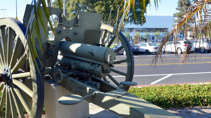 M-1902 U.S. Army field gun used for training purposes during WWI  sits in front of the Costa Mesa Police substation.