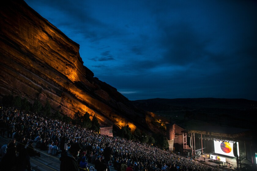 MORRISON, COLO. - MAY 21: Fans listen as Phantogram/Tycho performs at the Red Rocks Amphitheatre, o
