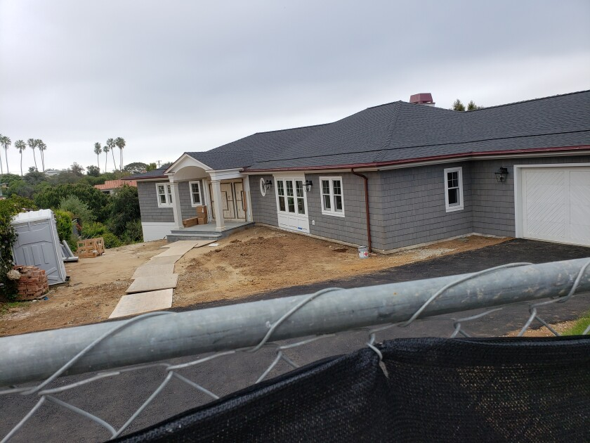 A property at 5911 La Jolla Mesa Drive is under construction. The La Jolla Community Planning Association approved the addition of a 1,175-square-foot master suite and a 907-square-foot cabana.