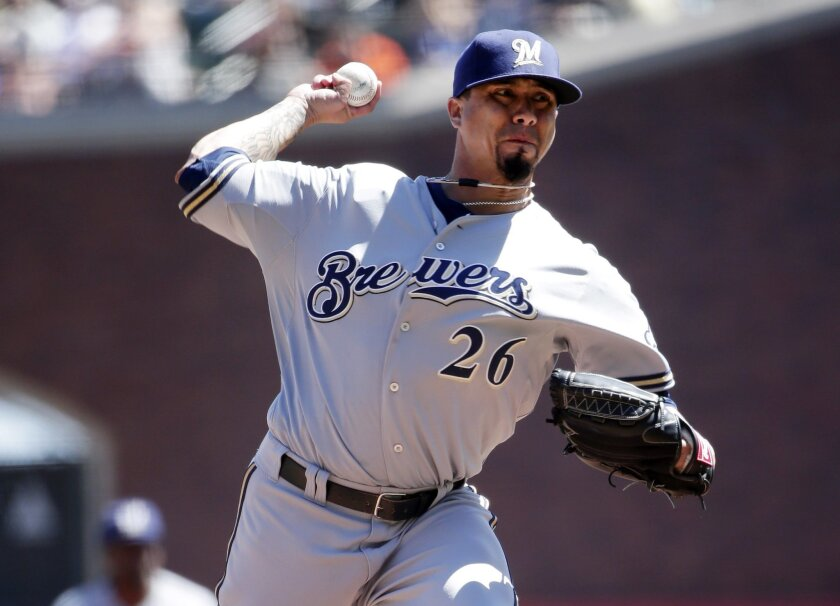 Milwaukee Brewers starting pitcher Kyle Lohse throws to the San Francisco Giants during the first inning of a baseball game on Sunday, Aug. 31, 2014, in San Francisco. (AP Photo/Marcio Jose Sanchez)