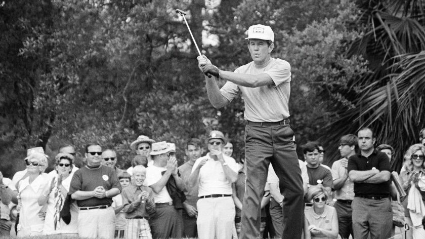 Gene Littler gives out with a whistle as he birdied the fifteenth hole which put him 8-under-par for a win in the 1971 Monsanto Open in Pensacola, Fla.