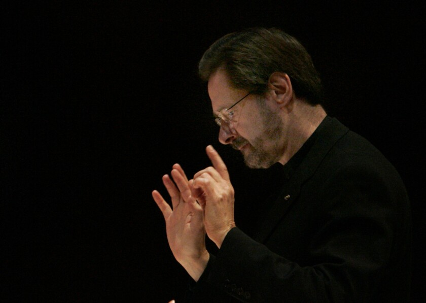 Steven Stucky, pictured in 2007 conducting at Walt Disney Concert Hall in Los Angeles.