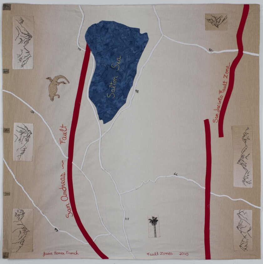 Jessie Homer French's Mapestries, hand-stitched maps for California's fault lines