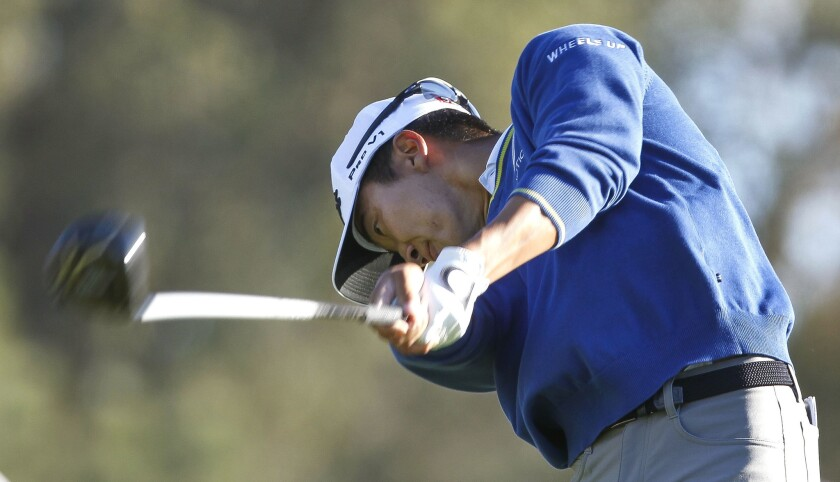 Torrey Pines High grad Michael Kim hits from the 18th tee during the third round of the Farmers Insurance Open at Torrey Pines on Saturday, Jan. 27, 2018.