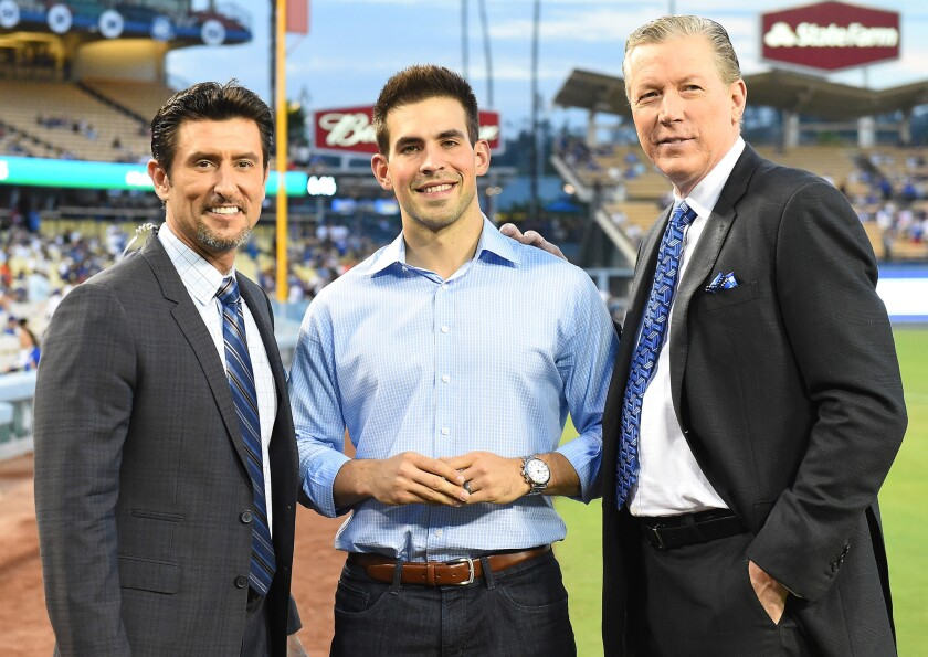 Nomar Garciaparra, Joe Davis and Orel Hershiser