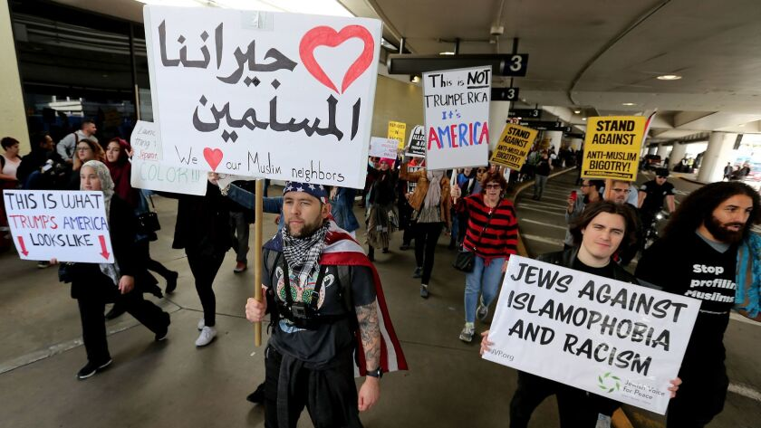 LOS ANGELES, CALIF. - FEB. 4, 2017. Protesters against the immigration ban of President Donald J. T