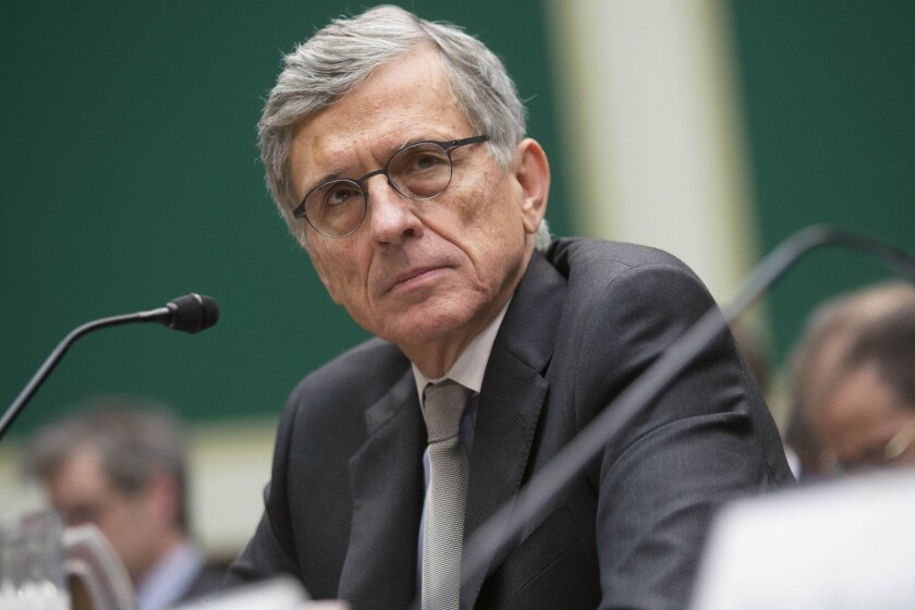 Federal Communications Commission Chairman Tom Wheeler listens during a congressional hearing.