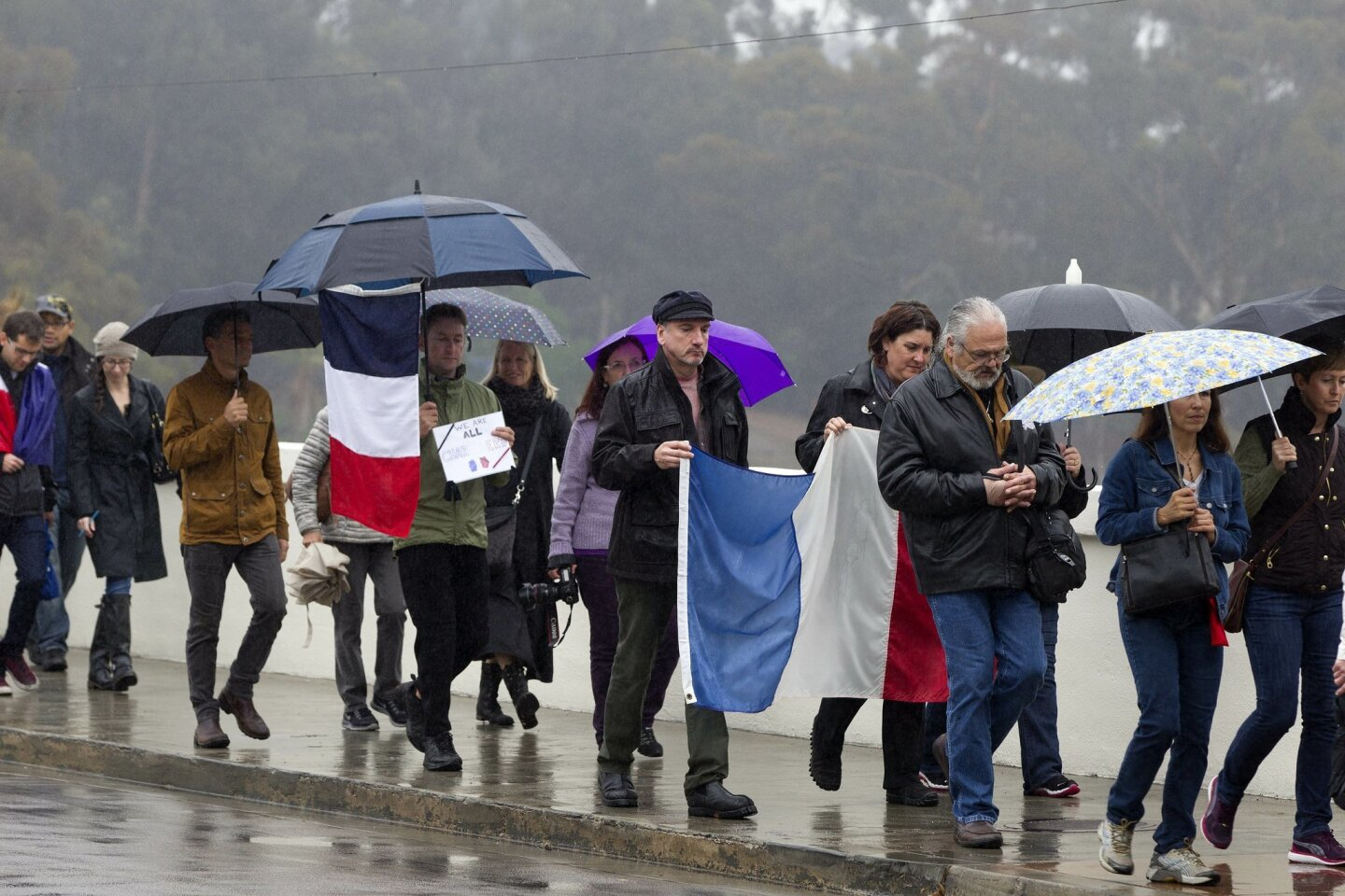In a show of solidarity with the cartoonists and others killed in France last week by extremists, a small group of San Diegans walked in the rain carrying signs that said Je Suis Charlie. The group walked from the House of France and made their way through the park. The group makes their way over t