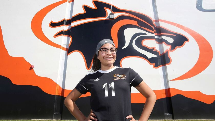 Vidalia Abarca of Los Amigos girls' soccer, helped the Lobos win the CIF Southern Section Division 5