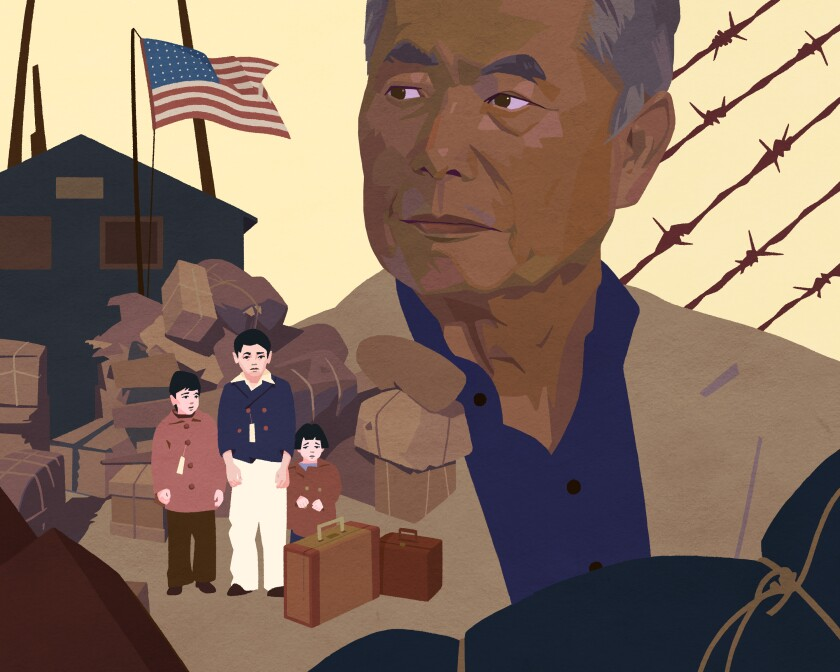 """An illustration of George Takei in """"The Terror: Infamy"""" by Shenho Hshieh for The Times"""