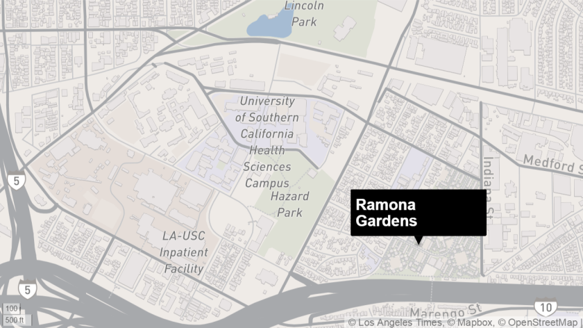 Map shows approximate location of Ramona Gardens